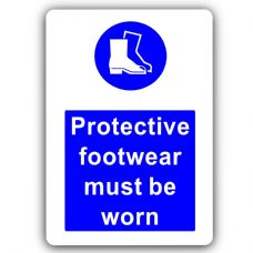 Protective Footwear Must Be Worn-Aluminium Metal Sign-150mmx100mm-Notice,Safety,Business,Health,Work